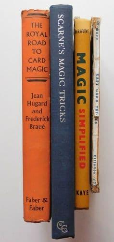 4 magic books card tricks conjuring 1940s 1950s Scarne Braue Baron Widdop bundle